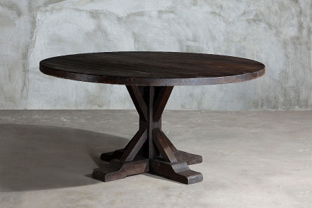 Reclaimed Round Elm Plank Table – Trestle Leg