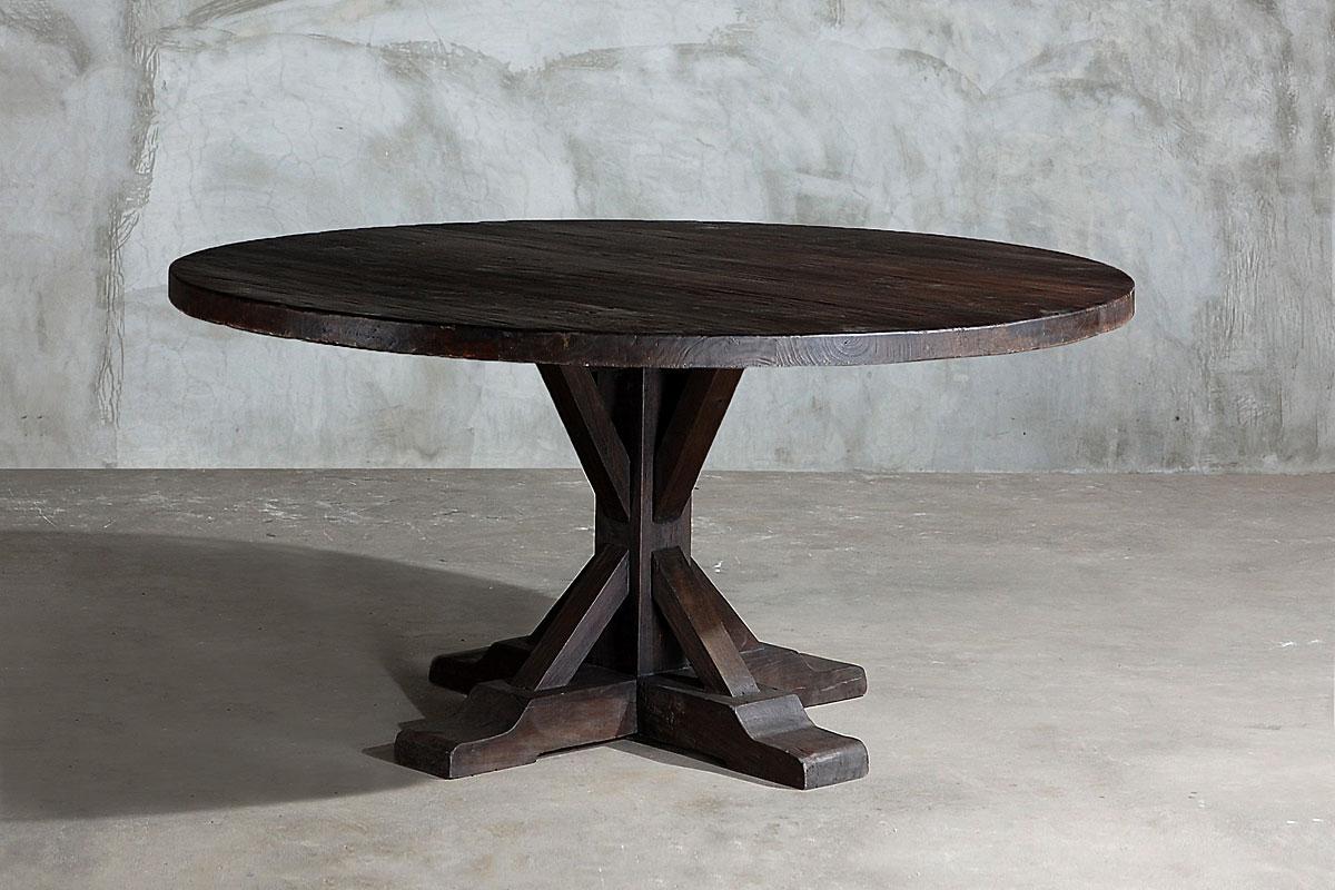 Superbe Reclaimed Round Elm Plank Table U2013 Trestle Leg