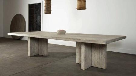Reclaimed Elm Plank Table – T Leg Style