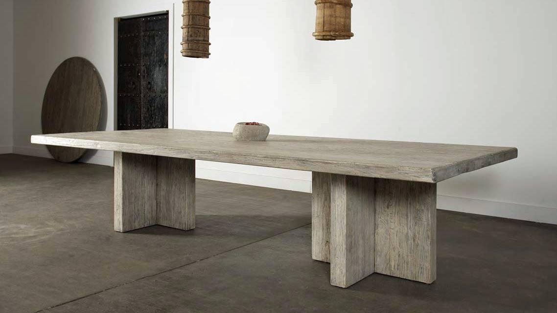Reclaimed Elm Plank Table U2013 T Leg Style