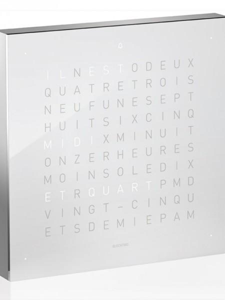 QlockTwo Alarm Clock – Silver Body, English, Vanilla Sugar
