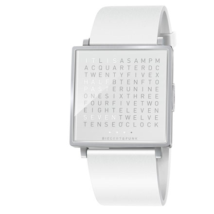 QlockTwo Watch – White, Stainless Steel, Brushed
