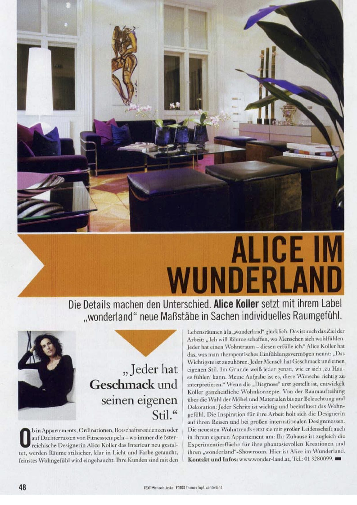 presse wohnen alice im wunderland j nner 2007 wunderland. Black Bedroom Furniture Sets. Home Design Ideas